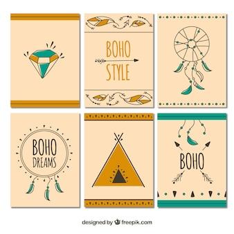 Boho-karten-kollektion mit hippie-elementen
