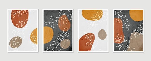 Boho laub strichzeichnung mit abstrakter form. abstrakte pflanzenkunst.