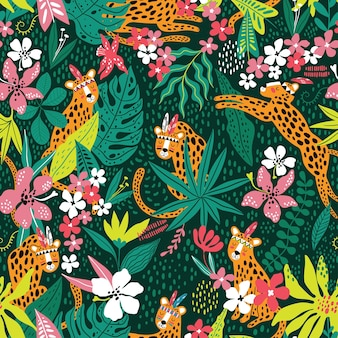 Boho leopardenmuster mit tropischen blättern vektor nahtlose textur kreative kinder textur für stoff