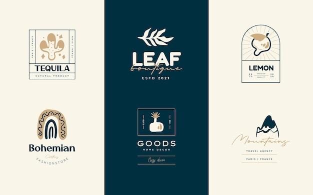 Boho-logo-design-vorlagen-kollektionen doodle bohemian icons and symbol set