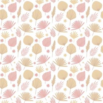 Boho-muster in pastell-beige-rosa-braun-farbe auf weißem hintergrund blätter-muster