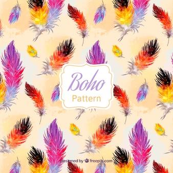 Boho-muster mit aquarellfedern