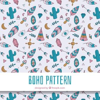 Boho-muster mit hippie-elementen