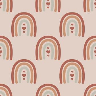 Boho nahtloses muster mit niedlichen regenbogen. kann für kindergarten, tapete, verpackung, textil verwendet werden.