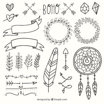 Boho-ornamente gesetzt