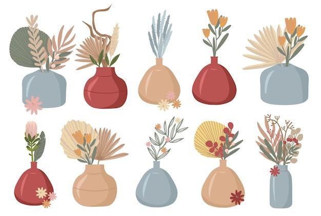 Boho pflanzen schöne wilde gras und blumen sammlung von floralen elementen pampas gras mohn köpfe lavendel baumwolle und andere stilvolle wohnung Premium Vektoren