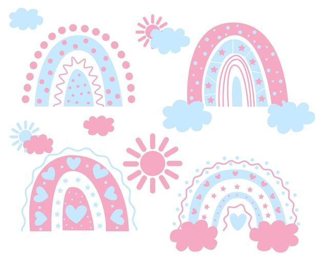 Boho regenbogen kinderregenbogen zur dekoration die geburt eines jungen und eines mädchens vektor