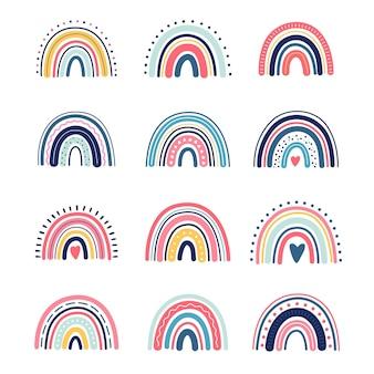 Boho-regenbogen, süße kinder, kinderillustration, im handzeichnungsstil