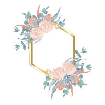 Boho rosen und eukalyptus geometrischen rahmen