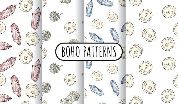 Boho-set nahtloser muster. kerzen, quarzkristalle, garnfäden tapetensammlung.