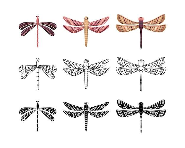 Boho-set von libellen mit geometrischen mustern. umriss, flacher und einfacher stil.