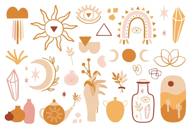 Boho sommer set mit verschiedenen formen, mond, quarz, blumen.