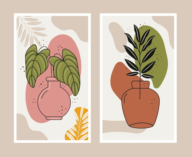 Boho-stil blätter pflanzen in keramikvasen szenen