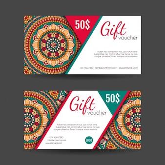 Boho-stil geschenk-gutscheine designs