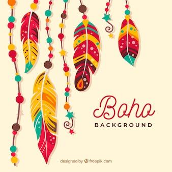 Boho stil hintergrund mit flachem design