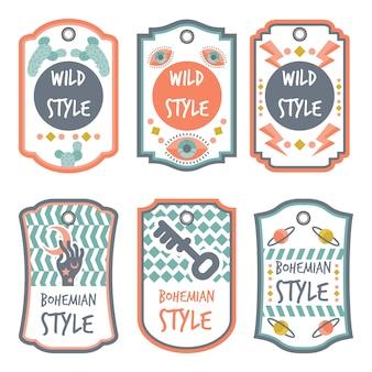 Boho-stil mit typografie-abzeichen-sammlung