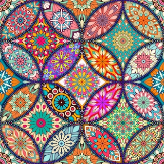 Boho-stil textur mit mandalas