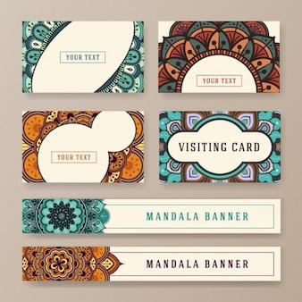 Boho-stil visitenkarten und banner-sammlung