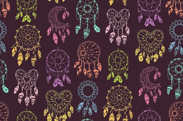 Boho traumfänger mit federn nahtloses muster. ethnisches design, textil boho chic