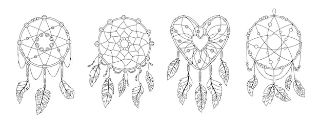 Boho traumfänger mit federn schwarzer umriss gesetzt. ethnisches design, boho-chic. talisman süßer traum