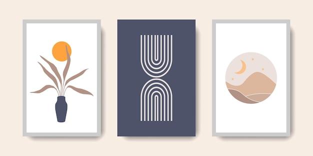 Boho-wandkunst-kollektion aus der mitte des jahrhunderts