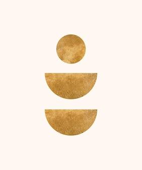 Boho wandkunstdruck mit goldener moderner form
