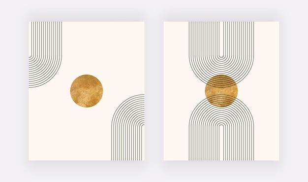 Boho wandkunstdruck mit regenbogen und goldener form