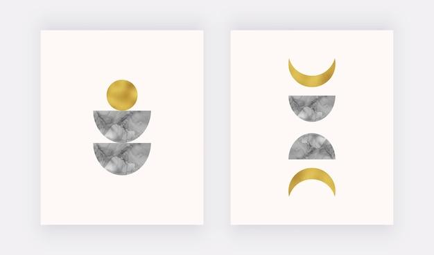 Boho wandkunstdruck mit schwarzer mond- und sonnenalkoholtinte, goldene folienstruktur.