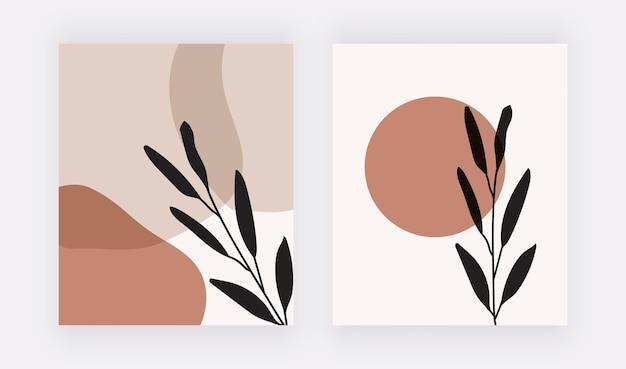 Boho-wandkunstdrucke mit geometrischen formen und blättern