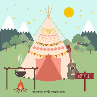 Boho zelt mit campingplatz elemente