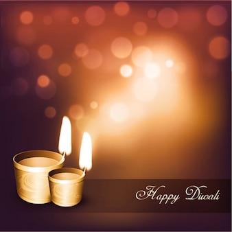 Bokeh hintergrund mit zwei kerzen für diwali