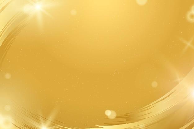 Bokeh-hintergrundvektor mit luxuriösem goldpinselstrich-grenzrahmen