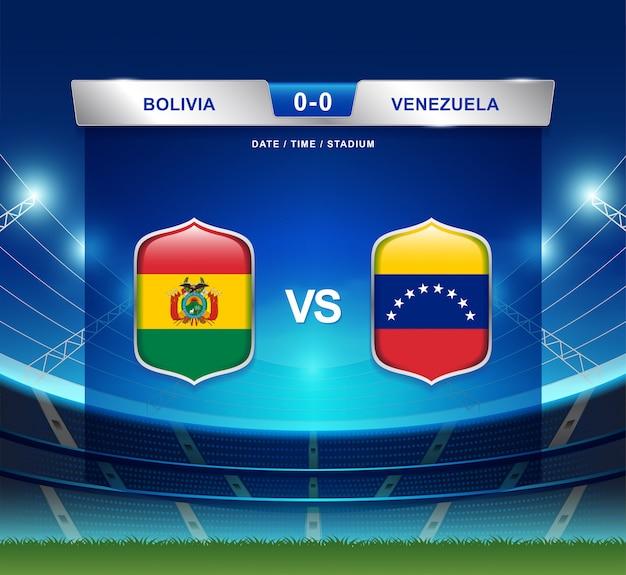 Bolivien gegen venezuela-anzeigetafel sendete fußball copa america