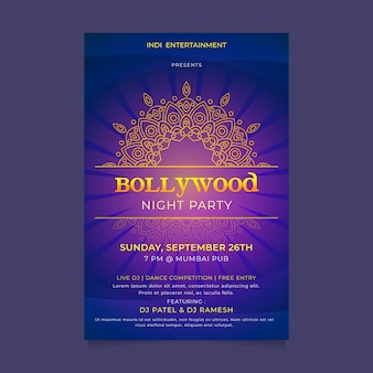 Bollywood party poster vorlage konzept