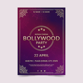 Bollywood party poster vorlage mit ornamenten