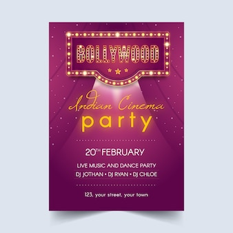 Bollywood party poster vorlage stil