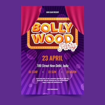 Bollywood party poster vorlage thema