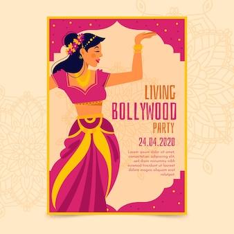 Bollywood-partyplakat mit tänzerschablone