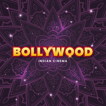 Bollywood-schriftzug mit glänzendem mandala-hintergrund
