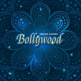 Bollywood-schriftzug mit glänzender mandala-tapete