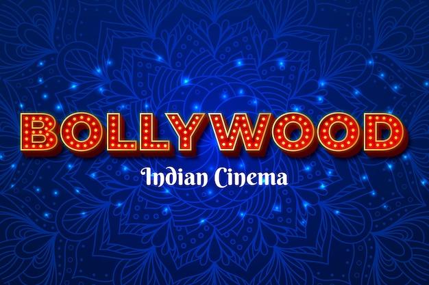 Bollywood-schriftzug mit mandala-hintergrund