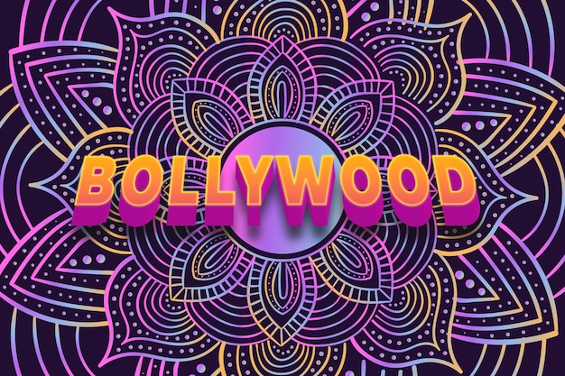 Bollywood-schriftzug mit mandala-thema