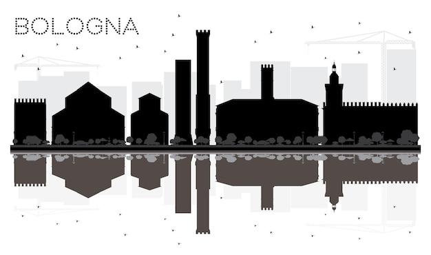 Bologna city skyline schwarz-weiß-silhouette mit reflexionen. vektor-illustration. stadtbild mit wahrzeichen