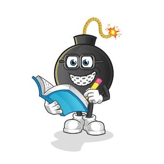 Bomb geek cartoon illustration