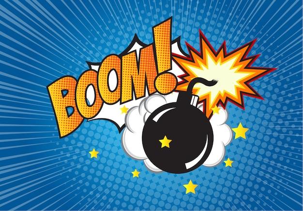 Bombe im pop-art-stil und comic-sprechblase mit text - boom! karikaturdynamit am hintergrund mit punkthalbtonbild und sonnendurchbruch.