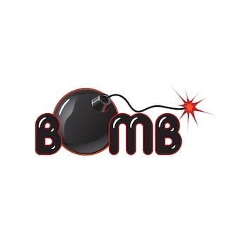Bombenillustrationslogo auf weißem hintergrund