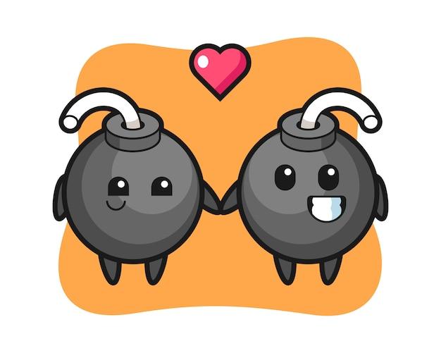 Bombenkarikaturcharakterpaar mit verliebter geste