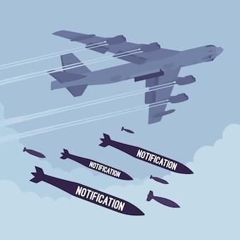 Bomber- und benachrichtigungsbombardierung