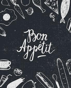 Bon appetit grafikplakat mit lebensmittelillustrationen, menüabdeckung, lebensmittelbanner. schwarz und weiß. tafel