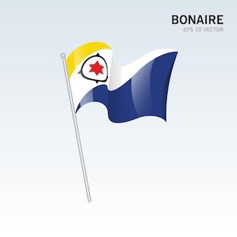 Bonaire wehende flagge isoliert auf grau